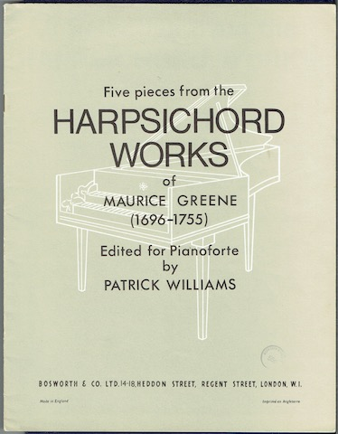 Image for Five Pieces From The Harpsichord Works Of Maurice Greene (1696-1755) Edited For Pianoforte By Patrick Williams