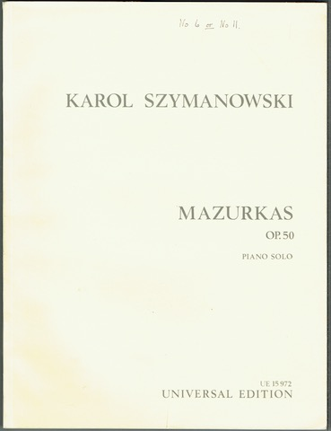 Image for Mazurkas, Op. 50: Piano Solo (UE 15972)
