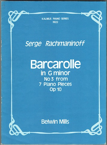 Image for Barcarolle In G minor No. 3 from '7 Piano Pieces' Op. 10 (Kalmus Piano Series 3822)