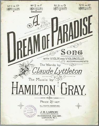Image for A Dream Of Paradise: Song With Violin And Violoncello Accompaniments.  No. 2 In F