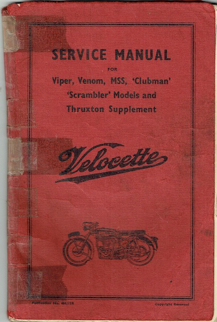 "Image for Velocette: Service Manual For Viper, Venom, MSS, ""Clubman"", ""Scrambler"" Models And Thruxton Supplement"