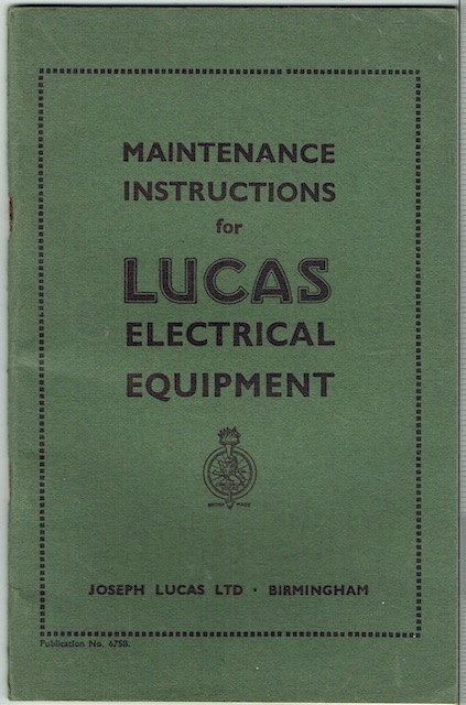 Image for Maintenance Instructions For Lucas Electrical Equipment