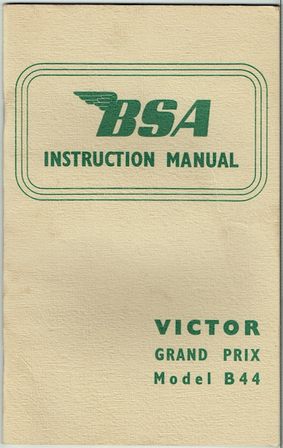Image for BSA Instruction Manual: Victor Grand Prix Model B44