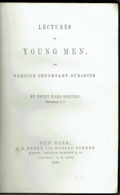 Image for Lectures To Young Men On Various Important Subjects