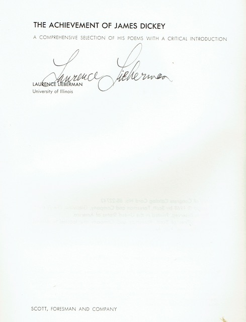 Image for The Achievement Of James Dickey: A Comprehensive Selection Of His Poems With A Critical Introduction (Signed)