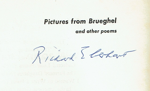 Image for Pictures From Brueghel And Other Poems By William Carlos Williams Including The Desert Music & Journey To Love (Signed by Richard Eberhart)