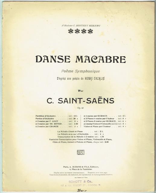 Danse Macabre Poeme Symphonique Dâapres Une Poesie De Henri Cazalis Op 40 Piano A 2 Mains Par Cramer