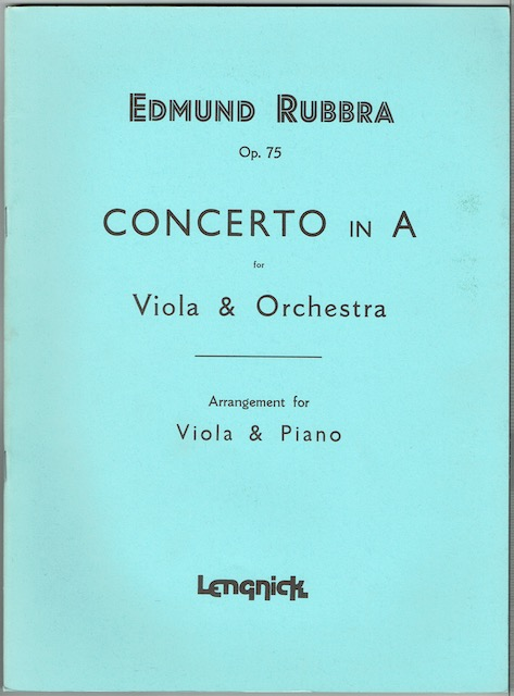 Image for Concerto In A For Viola & Orchestra (Op. 75): Arrangement For Viola & Piano