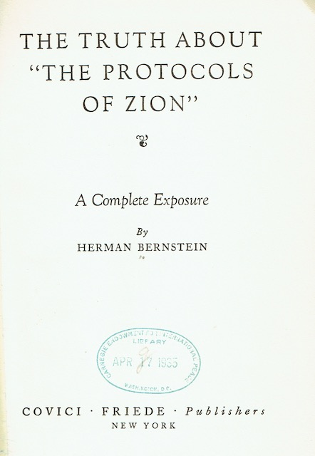Image for The Truth About 'The Protocols Of Zion': A Complete Exposure