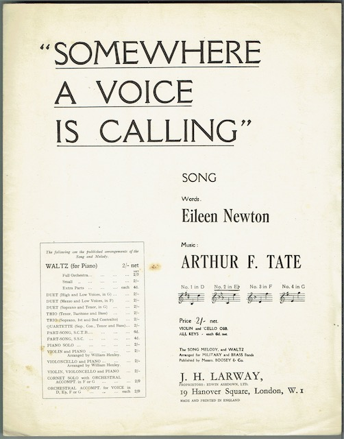 Image for Somewhere A Voice Is Calling: Song, No. 2 in E flat