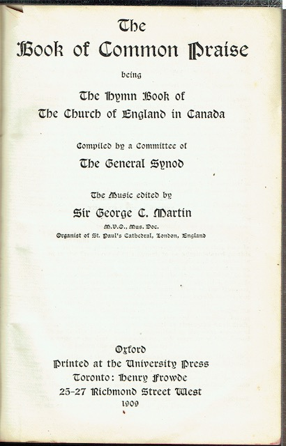 Image for The Book Of Common Praise Being The Hymn Book Of The Church Of England In Canada