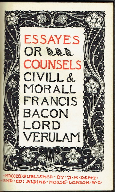 Image for Essays Or Counsels Civill & Morall