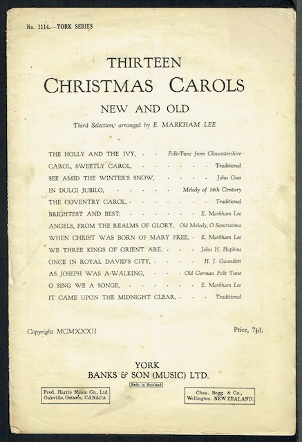 Image for Thirteen Christmas Carols, New And Old: Third Selection, Arranged By E. Markham Lee