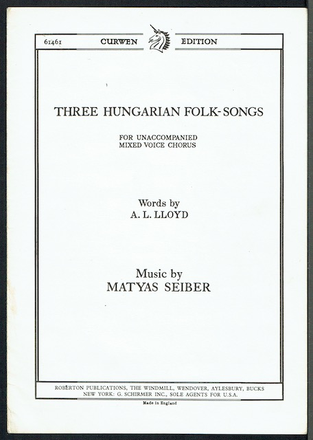 Image for Three Hungarian Folk-Songs For Unaccompanied Mixed Voice Chorus: 1. The Handsome Butcher; 2. Apple, Apple; 3. The Old Woman