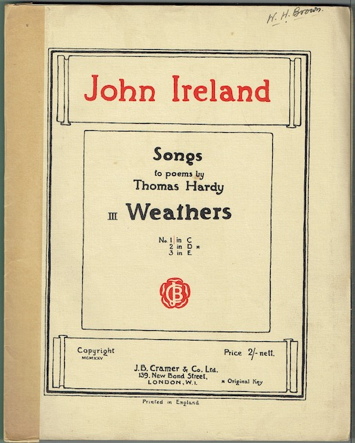 Image for Songs To Poems By Thomas Hardy III: Weathers, No.1 in C