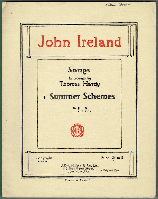 Image for Songs To Poems By Thomas Hardy I: Summer Schemes, No.1 in G