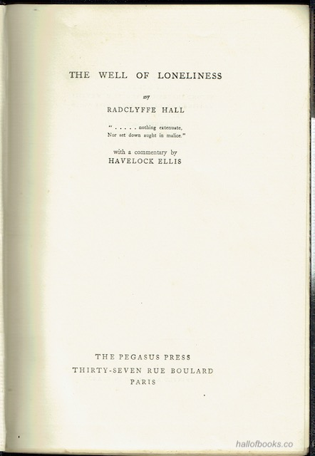 Image for The Well Of Loneliness, With A Commentary By Havelock Ellis
