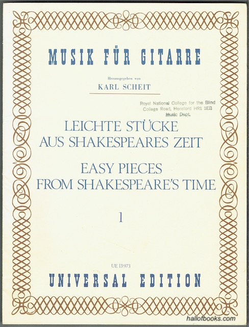Image for Easy Pieces From Shakespeare's Time Volume 1: Transcribed From Lute Tablatures And Arranged For Guitar By Karl Scheit (UE 13973)