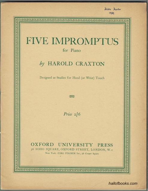 Image for Five Impromptus For Piano: Designed As Studies For Hand (Or Wrist) Touch